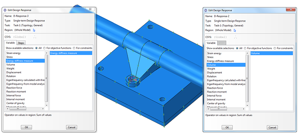 Creating a design response for Energy stiffness measure and for volume with Tosca