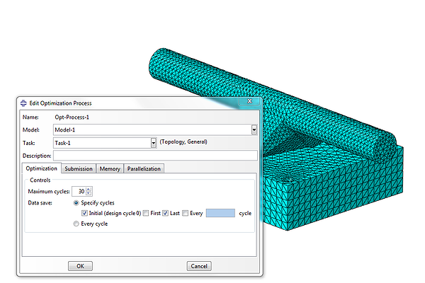 Creating an optimization process and defining the number of iterations with Tosca