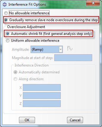 Gradually removing overclosure during step in Abaqus