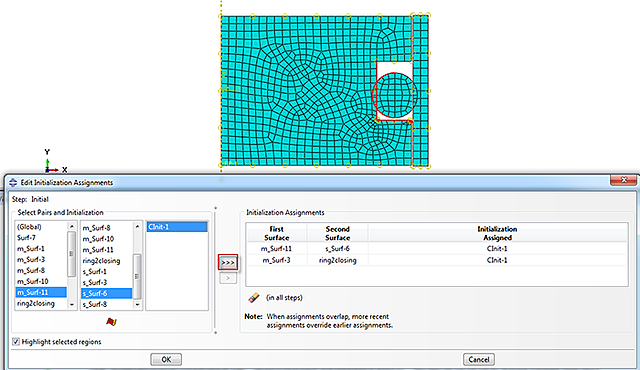 assigning a contact initialization to a pair of surfaces in Abaqus