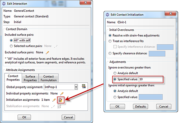 creating a contact initialization in Abaqus