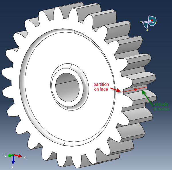 Partition Cell: Extrude/Sweep Edges tool is used to extrude the partition on the face