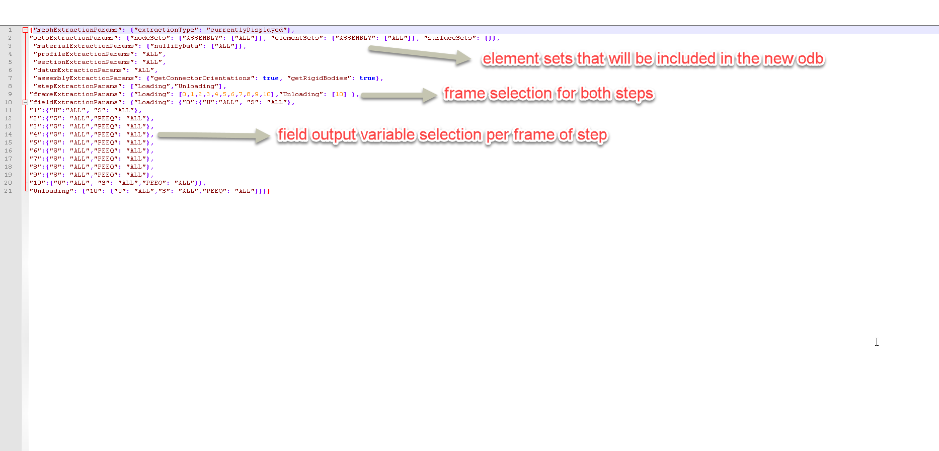 Figure 3 JSON parameter file edited