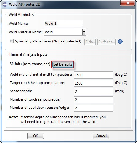 Abaqus Welding Interface weld attributes
